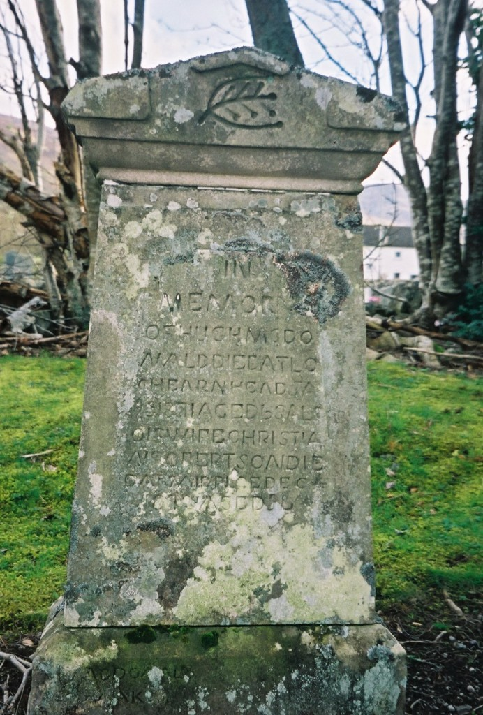 Gravestone in Kinloch Rannoch church yard - Hugh MacDONALD ... wife Christian ROBERTSON