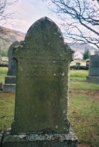 Gravestone in Kinloch Rannoch church yard - In Memory of Duncan CAMPBELL, Schoolmaster Auctarsin Public School Died 18th April 1908 also his wife Janes FORBES Died 9th August 1907
