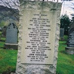 Gravestone in Kinloch Rannoch church yard - John MacGREGOR ... Jean FERGUSSON ... Christian Stewart [MacGREGOR] ... Ketherine Jean [MacGREGOR] ... Joan Alexandra [MacGREGOR] ... John Fergusson [MacGREGOR] ...Alice Mary BONELLA ... wife of John Dergusson MacGREGOR