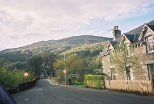 Kinloch Rannoch, Perthshire, Scotland - Muirlodge Place. Looking North-West, the hump in the road is the old stone bridge across the River which my ancestor Neil MacGregor mentioned in one of his letters.
