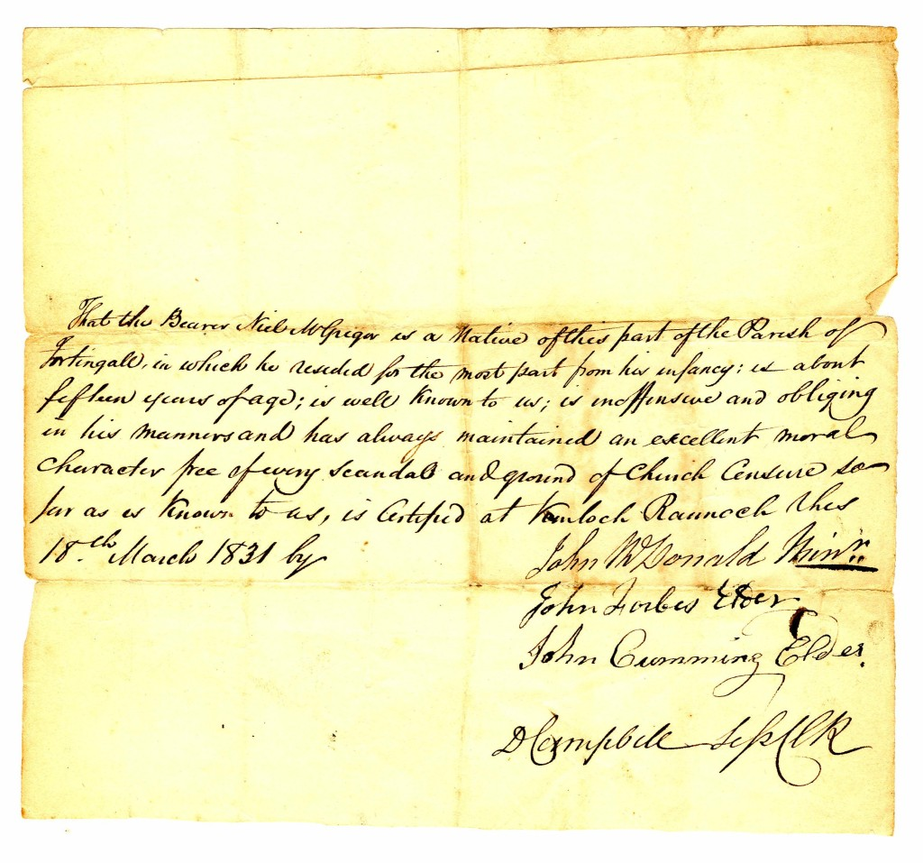 1831 March 18 letter of ref for Neil MacGregor from people in Kinloch Rannoch
