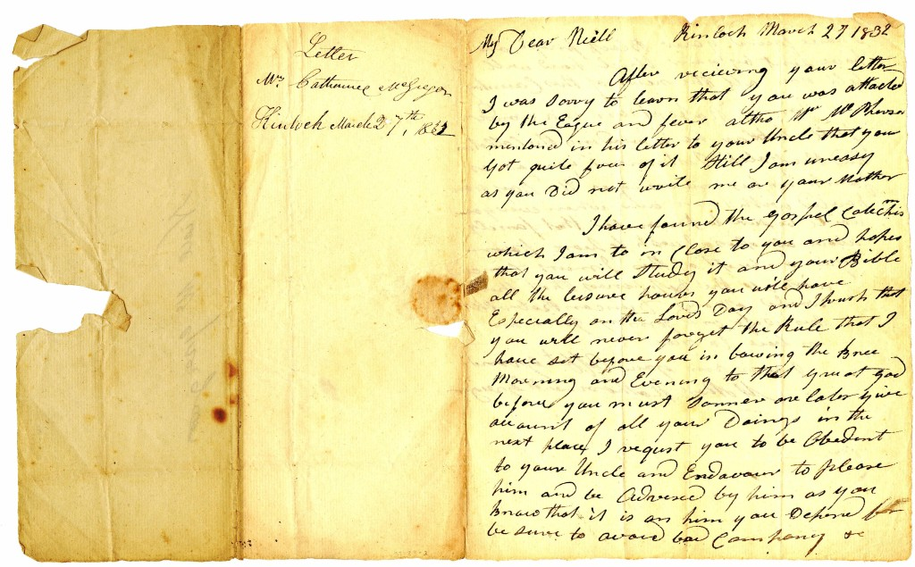 1831 Mar 27 Letter from Catherine MacGregor, Grandmother of Neil MacGregor
