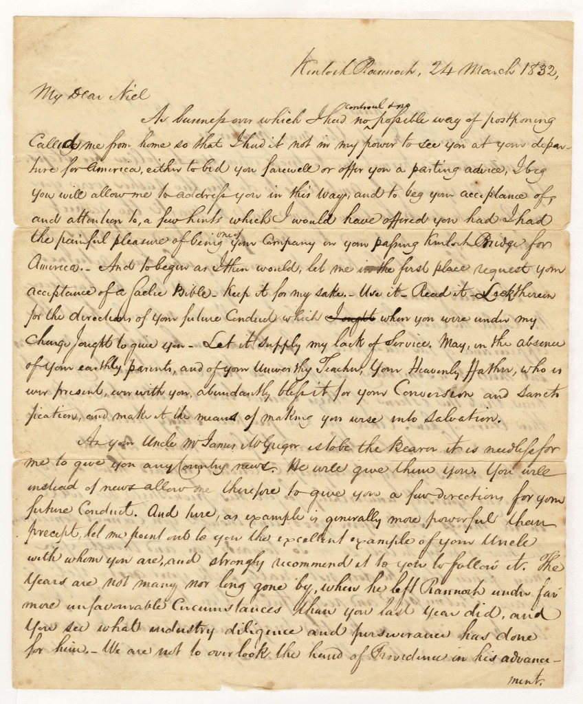 The first page of a four page letter from Duncan Campbell to Neil McGregor of 24 March 1832.