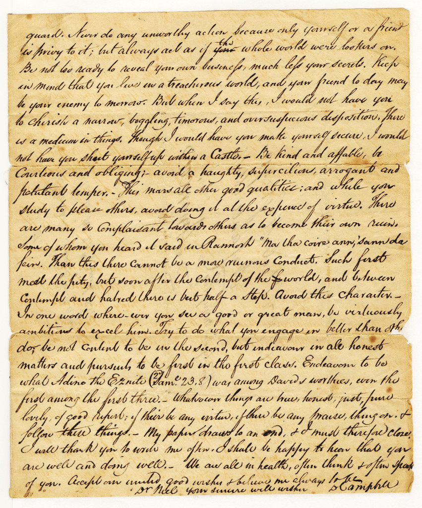 The third page of a four page letter from Duncan Campbell to Neil McGregor of 24 March 1832.