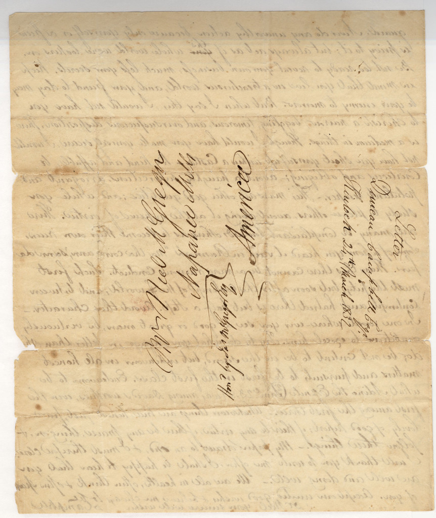 The last page of a four page letter from Duncan Campbell to Neil McGregor of 24 March 1832.
