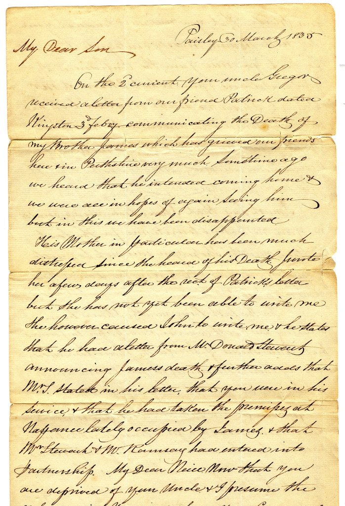 The first page of a letter written by D (Duncan) Macgregor in Paisley, Scotland on 30 March 1835 to his son, Mr. Neill McGregor