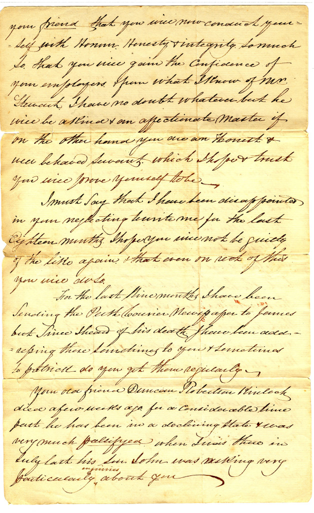The second page of a letter written by D Macgregor in Paisley, Scotland on 30 March 1835 to his son, Mr. Neill McGregor