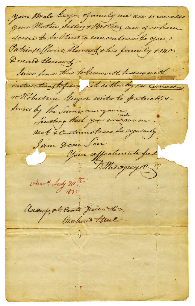 The third page of a letter written by D Macgregor in Paisley, Scotland on 30 March 1835 to his son, Mr. Neill McGregor