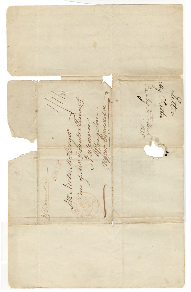1835-03-30 The fourth and last page of a letter written by D. Macgregor in Paisley, Scotland on 30 March 1835 to his son, Mr. Neill McGregor. This last page was the exterior of the letter and used to write the address of the recipient of the letter.