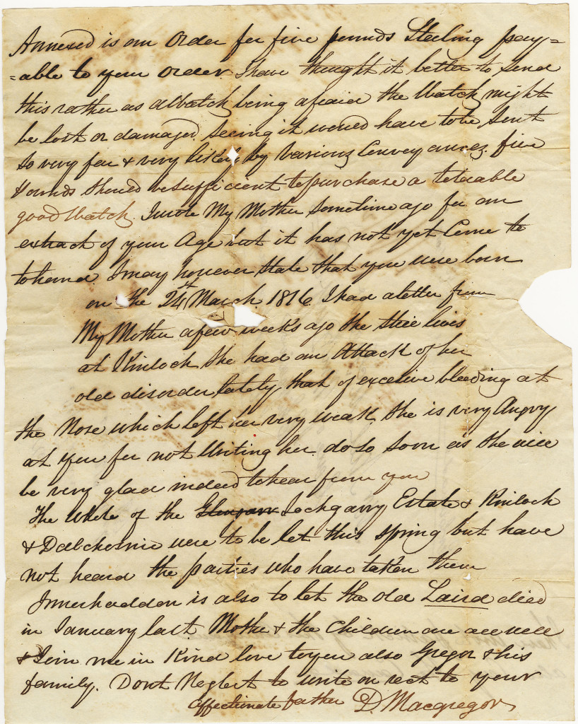 1837-08-24 Letter to Neil McGregor from Duncan Macgregor sent from Paisley on 24 March 1837. Page 1 of 2
