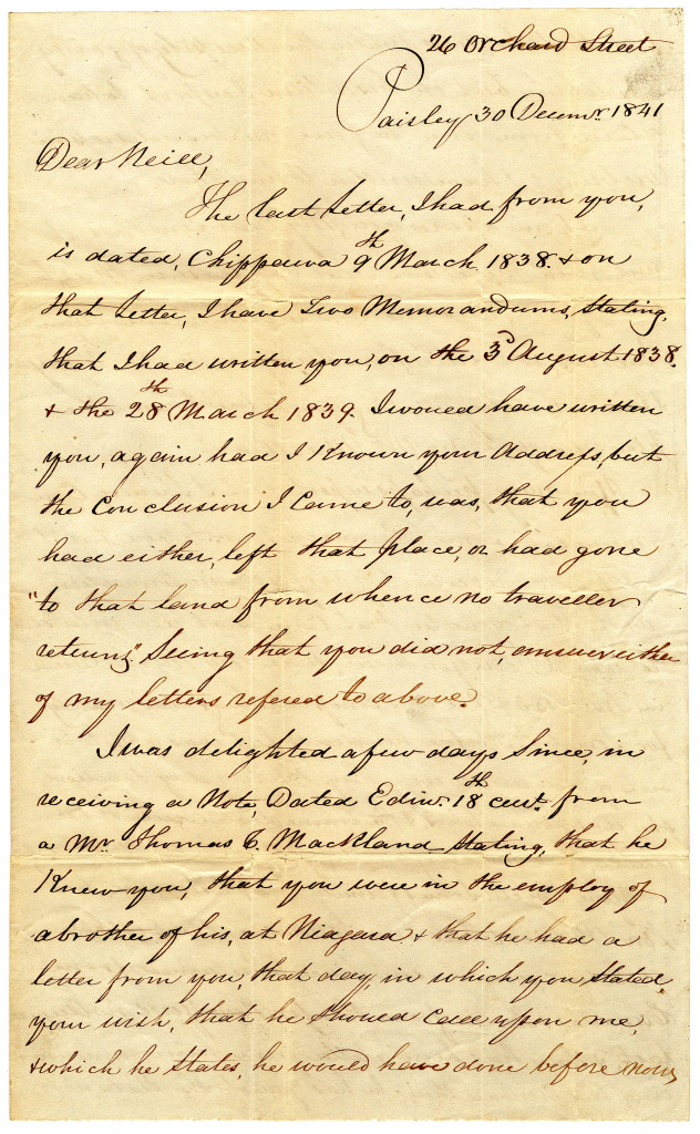 1841-12-30 p. 1 of 4 Four page letter from Duncan Macgregor to Neill on 30 December 1841.