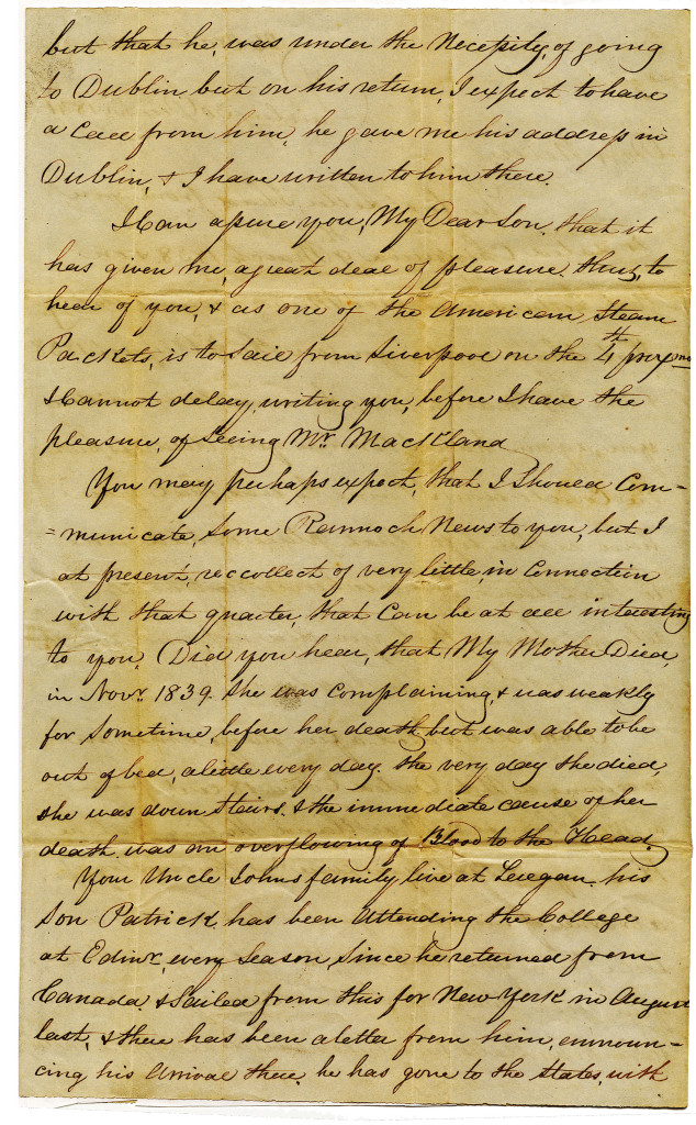 1841-12-30 p. 2 of 4 Four page letter from Duncan Macgregor to Neill on 30 December 1841.