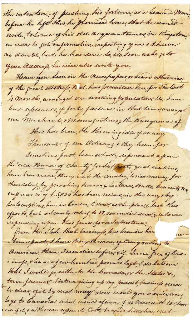 1841-12-30 p. 3 of 4 Four page letter from Duncan Macgregor to Neill on 30 December 1841.