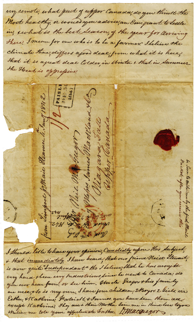1841-12-30 p. 4 of 4 Four page letter from Duncan Macgregor to Neill on 30 December 1841.