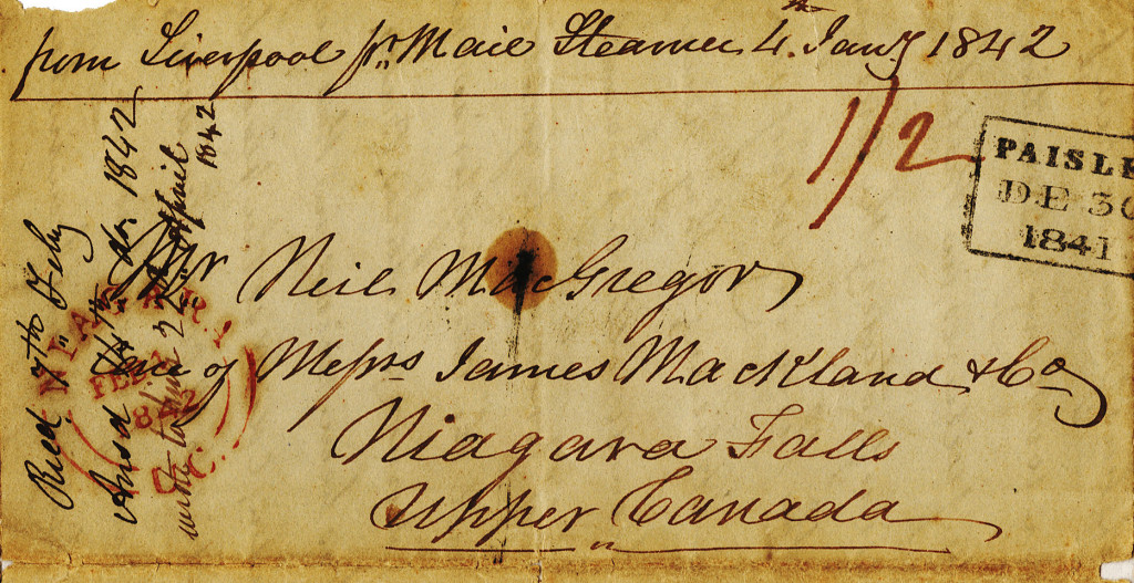 Cover of letter from Duncan Macgregor to Neill on 30 December 1841. 4/4