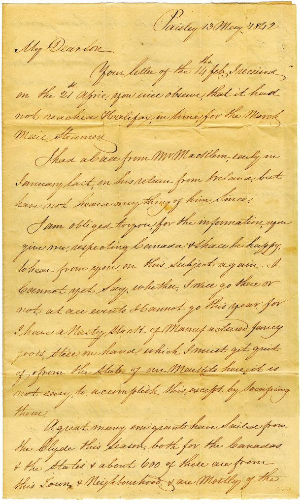 Letter from Duncan Macgregor to his son NeilMacGregor on 13 May 1842. 1/4