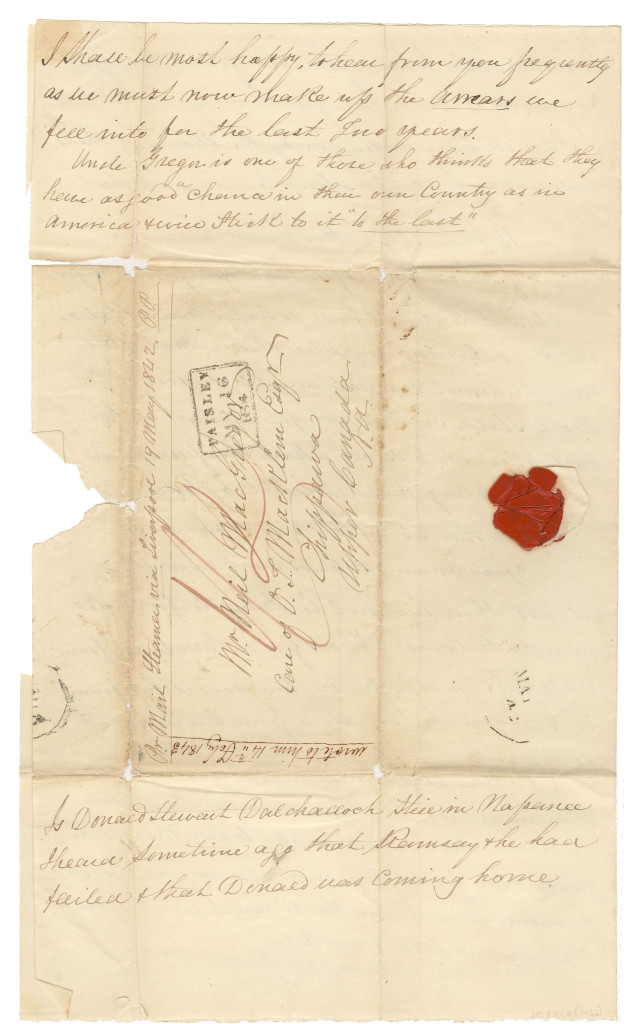 Letter from Duncan Macgregor to his son NeilMacGregor on 13 May 1842. 4/4