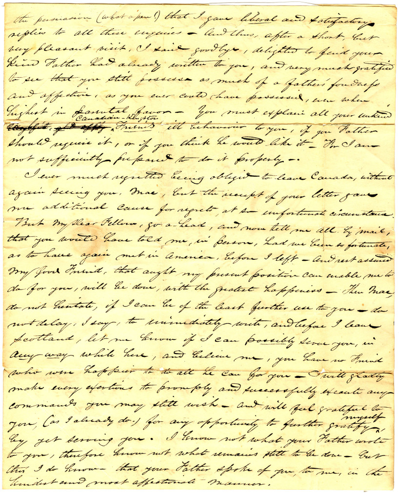 A letter to Neil MacGregor from a friend in Edinburgh who had visited Neil's father in Paisley. The letter is dated May 17, 1842. 3/4