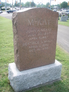 Back side of Allan Daniel McKAY's tombstone, marked for his son John A. McKAY and wife Beatrice S. McKAY