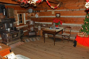 Log cabin at Chrismas time - Burnaby Village Museum by Colin M Stevens 2014