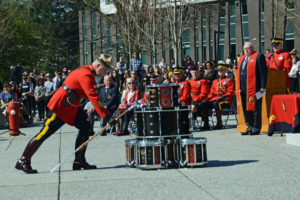 2016-03-31 RCMP Sergeant major Hall retrieving the old mace from the drumhead, Surrey BC (113)