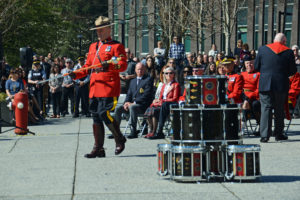2016-03-31 RCMP Sergeant Major Hall takes the new mace to the drumhead, Surrey BC (123)