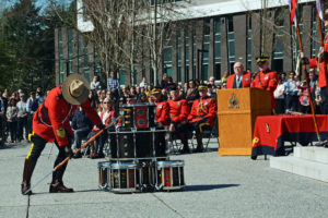 2016-03-31 RCMP Sergeant Major Hall retrieves the new mace from the drum head, Surrey BC (126)