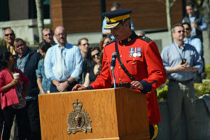 2016-03-31 RCMP Deputy Commissioner speaking at band's new mace presentation, Surrey BC (139)