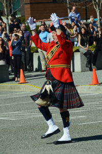 2016-03-31 RCMP Drum Major bringing the Pipes and Drums to a halt at the new mace ceremony, Surrey BC (75)