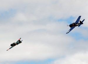 Japanese Zero with a US Navy fighter on its tail. 2016-08-07 Hillsboro Air Show (429)