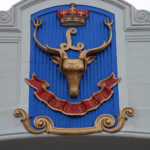 Seaforth Highlanders of Canada crest on the front of the Seaforth Armoury.