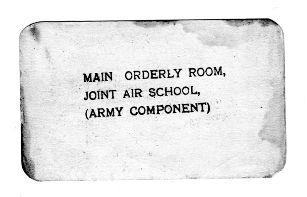 Canadian Parachute Badge card (back) issued to Canadian SAS Company member Tobias Jackman RALPH (photo courtesy of his son).