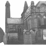 Brechin Cathedral in 1912, showing some tombstones. Photo by Wm. A. Stevens in 1912.