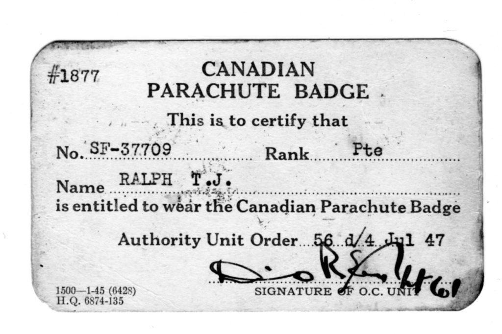 Canadian Parachute Badge card (front) issued to Canadian SAS Company member Tobias Jackman RALPH (photo courtesy of his son).