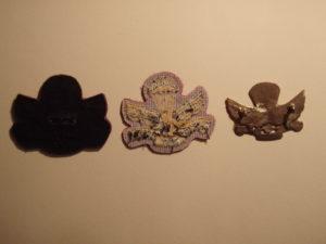 Canadian SAS Association Commemorative three types of cap badges - backs.