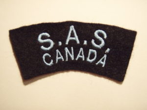 Canadian SAS Association Commemorative shoulder title with narrow letters and without border.