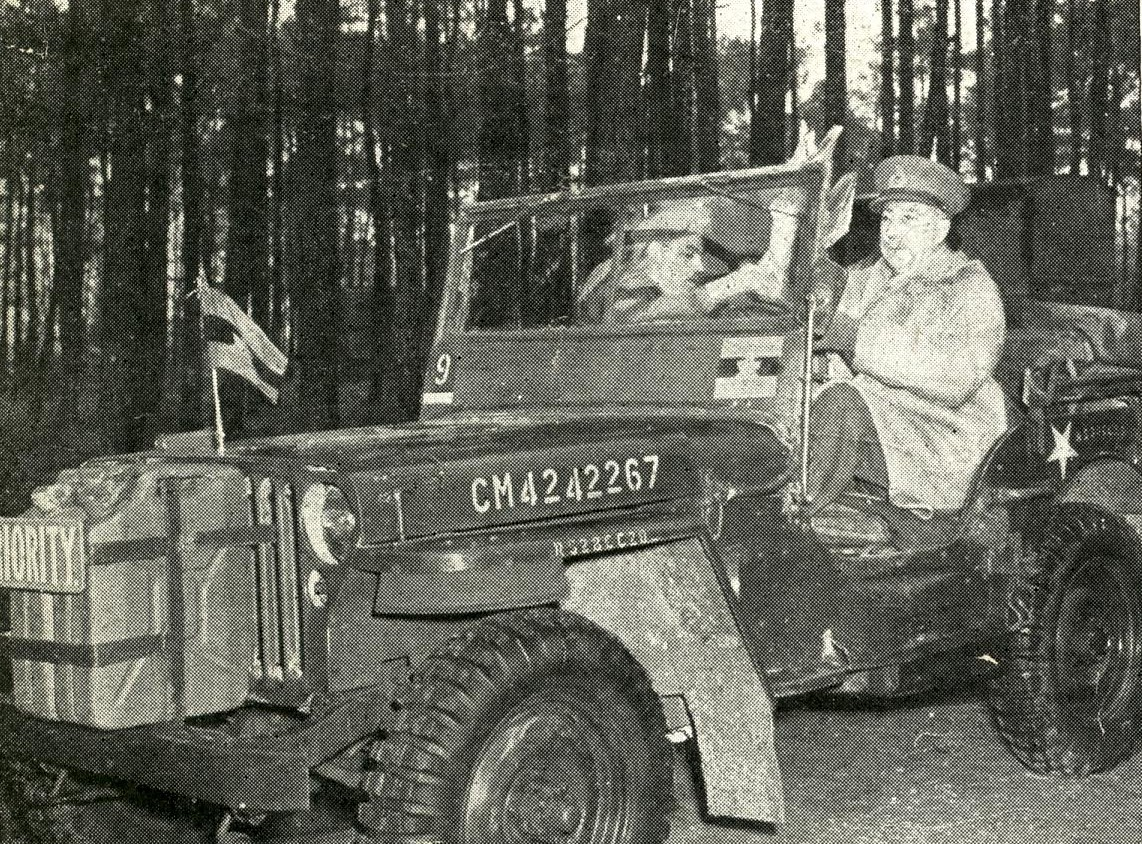 General Harry Crerar driving his jeep in 1944-1945.