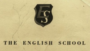 English School crest & name on notebook