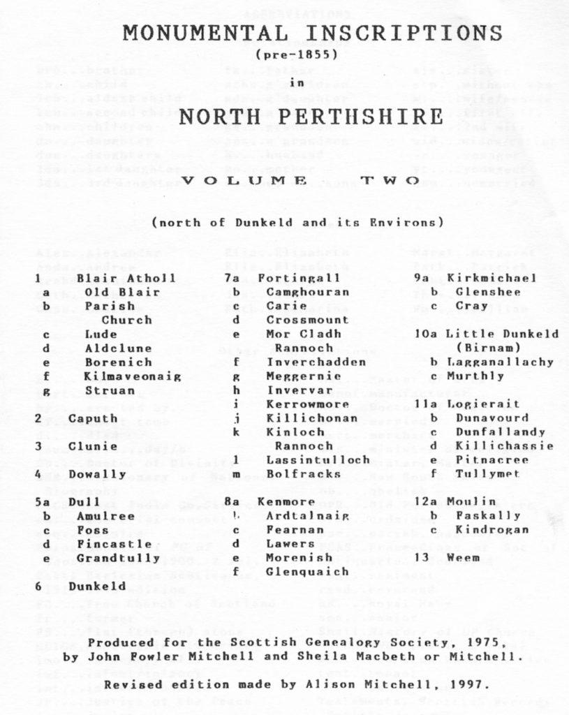 NORTH PERTHSHIRE Monumental Inscriptions Vol 2 -Contents
