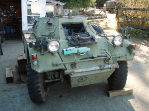 Ferret Scout Car Mark I, CAR 54-82598 - front, as found at Mill Bay, British Columbia, Canada.