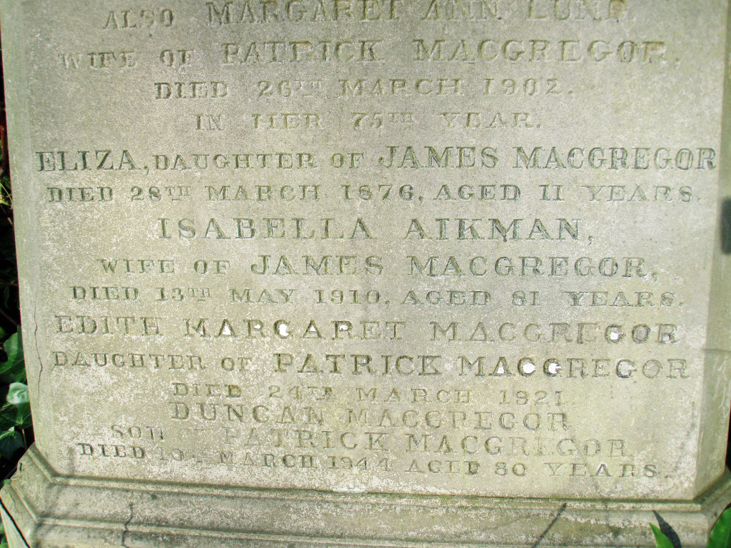 Grave Duncan MacGregor lower inscription
