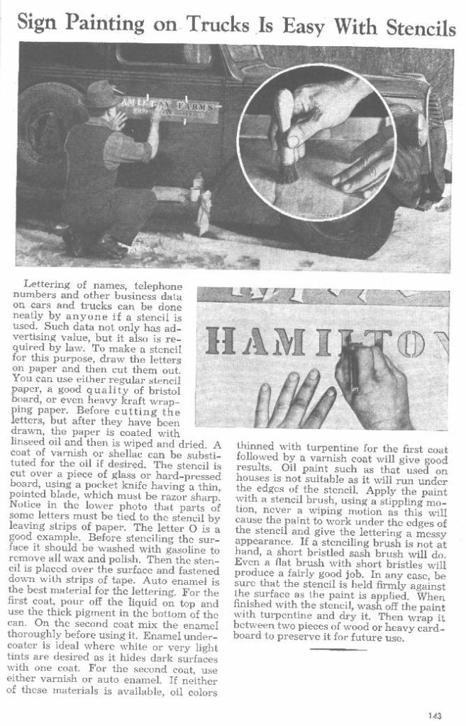 Sign painting on trucks in 1945 from Popular Mechanics Shop Notes. Civilian, but the technology was the same.