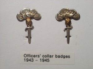 "WWII Canadian Parachute Corps officers' collar badges worn on the Service Dress. ""Ex Coelis"" is Latin for ""Out of the Sky""."