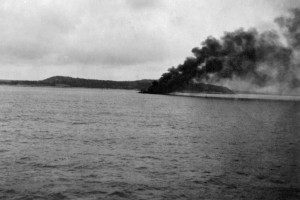 Smoke plume of burning sinking ship. Definitely tanker 24-3-42