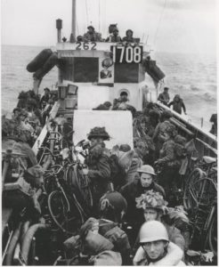 Canadian troops on the way to Normandy with BSA Airborne Bicycles for D-Day (Library and Archives Canada PA132930)