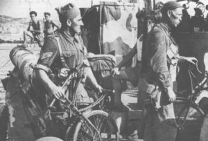 No.9 Commando with some BSA Airborne Bicycles on board a small motor vessel, Cherso_raid, August 1944. The bicycles are folded for compactness.