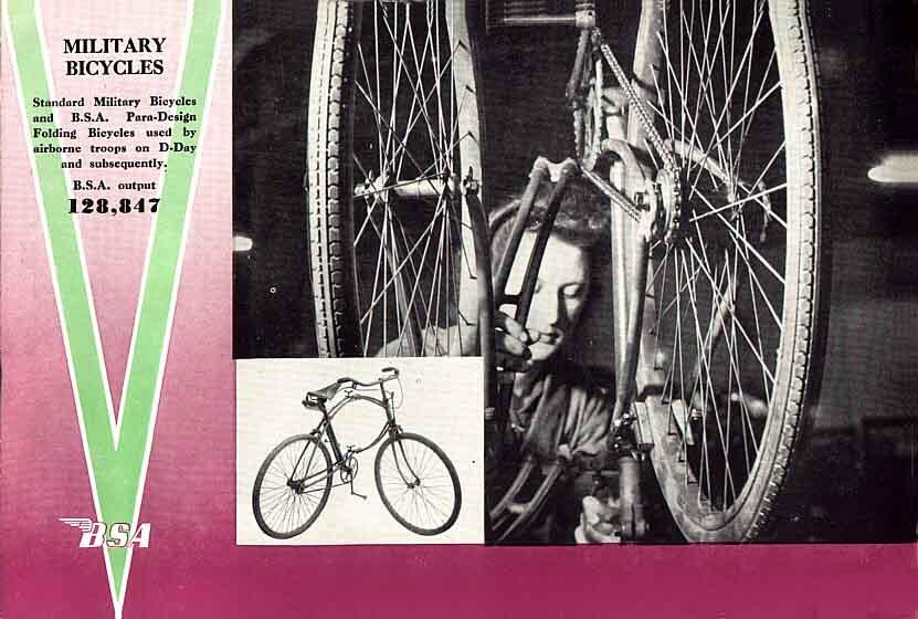 BSA Airborne Bicycle being assembled at the factory by a woman worker.