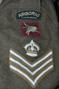 Insignia on sleeve of a battledress blouse believed to have been worn by an instructor at Shilo, Manitoba in WWII - Colin M. Stevens Collection