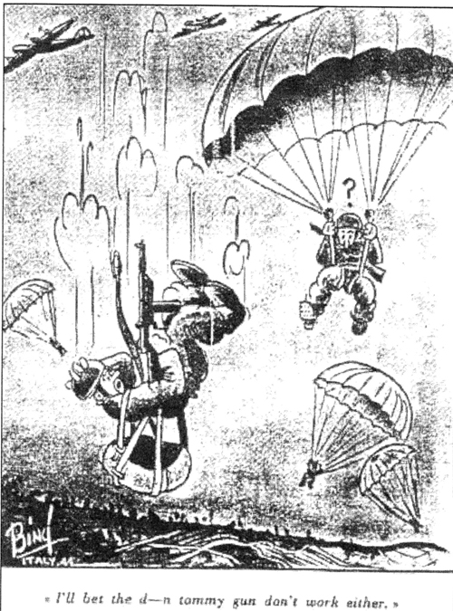 Canadian Parachute malfunction cartoon by Bing Coughlin in WWII
