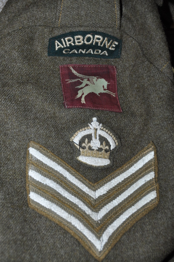Insignia on sleeve of a battledress blouse believed to have been worn by an instructor at Shilo, Manitoba in WWWII - Colin M. Stevens Collection